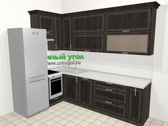 Угловая кухня МДФ патина в классическом стиле 7,2 м², 170 на 270 см, Венге, верхние модули 92 см, посудомоечная машина, встроенный духовой шкаф, холодильник