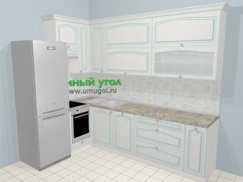 Угловая кухня МДФ патина в стиле прованс 7,2 м², 170 на 270 см, Лиственница белая, верхние модули 92 см, посудомоечная машина, встроенный духовой шкаф, холодильник