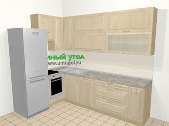 Угловая кухня из массива дерева в классическом стиле 7,2 м², 170 на 270 см, Светло-коричневые оттенки, верхние модули 92 см, посудомоечная машина, встроенный духовой шкаф, холодильник