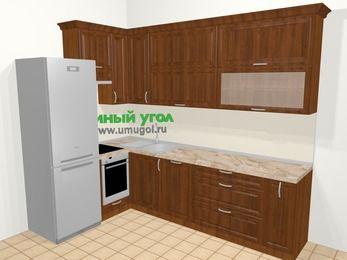 Угловая кухня из массива дерева в классическом стиле 7,2 м², 170 на 270 см, Темно-коричневые оттенки, верхние модули 92 см, посудомоечная машина, встроенный духовой шкаф, холодильник