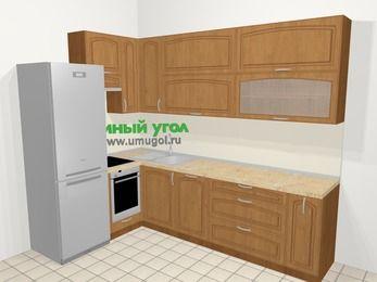 Угловая кухня МДФ патина в классическом стиле 7,2 м², 170 на 270 см, Ольха, верхние модули 92 см, посудомоечная машина, встроенный духовой шкаф, холодильник