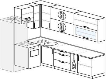 Угловая кухня 7,2 м² (1,7✕2,7 м), верхние модули 92 см, холодильник, отдельно стоящая плита
