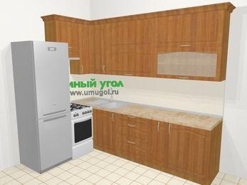 Угловая кухня МДФ матовый в классическом стиле 7,2 м², 170 на 270 см, Вишня, верхние модули 92 см, холодильник, отдельно стоящая плита