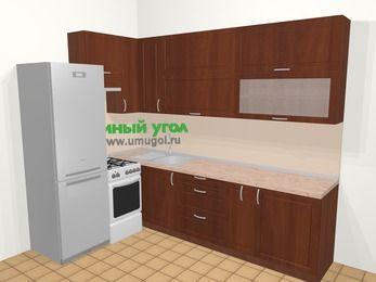 Угловая кухня МДФ матовый в классическом стиле 7,2 м², 170 на 270 см, Вишня темная, верхние модули 92 см, холодильник, отдельно стоящая плита