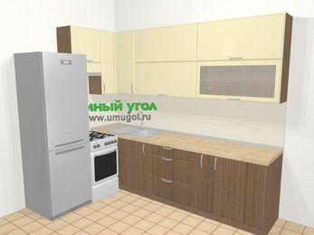 Угловая кухня МДФ матовый в современном стиле 7,2 м², 170 на 270 см, Ваниль / Лиственница бронзовая, верхние модули 92 см, холодильник, отдельно стоящая плита