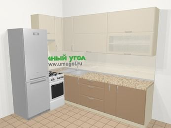 Угловая кухня МДФ матовый в современном стиле 7,2 м², 170 на 270 см, Керамик / Кофе, верхние модули 92 см, холодильник, отдельно стоящая плита