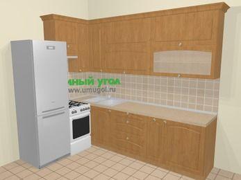 Угловая кухня МДФ матовый в стиле кантри 7,2 м², 170 на 270 см, Ольха, верхние модули 92 см, холодильник, отдельно стоящая плита