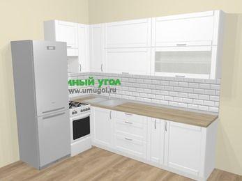 Угловая кухня МДФ матовый  в скандинавском стиле 7,2 м², 170 на 270 см, Белый, верхние модули 92 см, холодильник, отдельно стоящая плита