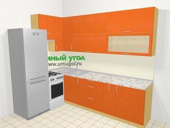 Угловая кухня МДФ металлик в современном стиле 7,2 м², 170 на 270 см, Оранжевый металлик, верхние модули 92 см, холодильник, отдельно стоящая плита