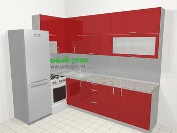Угловая кухня МДФ глянец в современном стиле 7,2 м², 170 на 270 см, Красный, верхние модули 92 см, холодильник, отдельно стоящая плита