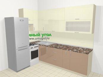 Угловая кухня МДФ глянец в современном стиле 7,2 м², 170 на 270 см, Жасмин / Капучино, верхние модули 92 см, холодильник, отдельно стоящая плита