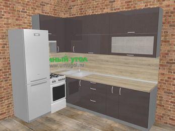 Угловая кухня МДФ глянец в стиле лофт 7,2 м², 170 на 270 см, Шоколад, верхние модули 92 см, холодильник, отдельно стоящая плита