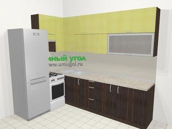Кухни пластиковые угловые в современном стиле 7,2 м², 170 на 270 см, Желтый Галлион глянец / Дерево Мокка, верхние модули 92 см, холодильник, отдельно стоящая плита