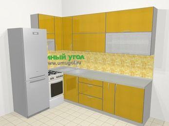 Кухни пластиковые угловые в современном стиле 7,2 м², 170 на 270 см, Желтый глянец, верхние модули 92 см, холодильник, отдельно стоящая плита