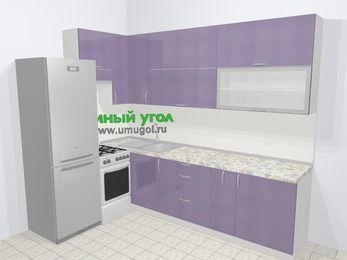 Кухни пластиковые угловые в современном стиле 7,2 м², 170 на 270 см, Сиреневый глянец, верхние модули 92 см, холодильник, отдельно стоящая плита