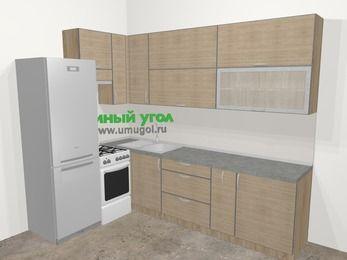 Кухни пластиковые угловые в стиле лофт 7,2 м², 170 на 270 см, Чибли бежевый, верхние модули 92 см, холодильник, отдельно стоящая плита