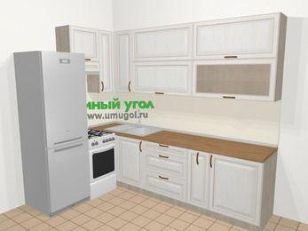 Угловая кухня МДФ патина в классическом стиле 7,2 м², 170 на 270 см, Лиственница белая, верхние модули 92 см, холодильник, отдельно стоящая плита