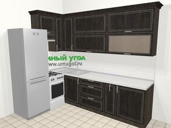Угловая кухня МДФ патина в классическом стиле 7,2 м², 170 на 270 см, Венге, верхние модули 92 см, холодильник, отдельно стоящая плита