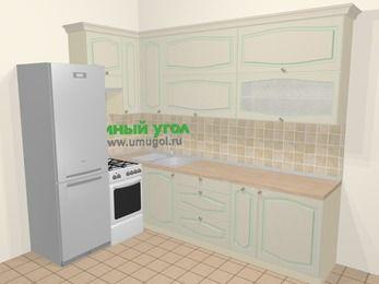 Угловая кухня МДФ патина в стиле прованс 7,2 м², 170 на 270 см, Керамик, верхние модули 92 см, холодильник, отдельно стоящая плита