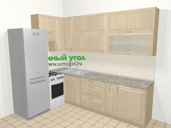 Угловая кухня из массива дерева в классическом стиле 7,2 м², 170 на 270 см, Светло-коричневые оттенки, верхние модули 92 см, холодильник, отдельно стоящая плита