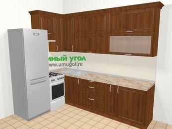 Угловая кухня из массива дерева в классическом стиле 7,2 м², 170 на 270 см, Темно-коричневые оттенки, верхние модули 92 см, холодильник, отдельно стоящая плита