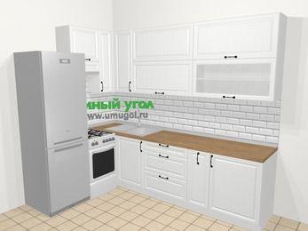 Угловая кухня из массива дерева в скандинавском стиле 7,2 м², 170 на 270 см, Белые оттенки, верхние модули 92 см, холодильник, отдельно стоящая плита