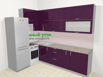 Угловая кухня МДФ глянец в современном стиле 7,2 м², 170 на 270 см, Баклажан, верхние модули 92 см, холодильник, отдельно стоящая плита
