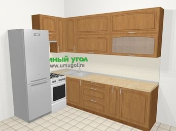 Угловая кухня МДФ патина в классическом стиле 7,2 м², 170 на 270 см, Ольха, верхние модули 92 см, холодильник, отдельно стоящая плита