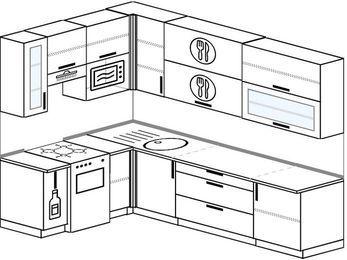 Угловая кухня 7,2 м² (1,7✕2,7 м), верхние модули 92 см, верхний модуль под свч, отдельно стоящая плита