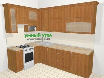 Угловая кухня МДФ матовый в классическом стиле 7,2 м², 170 на 270 см, Вишня, верхние модули 92 см, верхний модуль под свч, отдельно стоящая плита