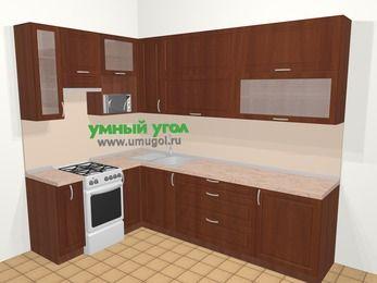 Угловая кухня МДФ матовый в классическом стиле 7,2 м², 170 на 270 см, Вишня темная, верхние модули 92 см, верхний модуль под свч, отдельно стоящая плита