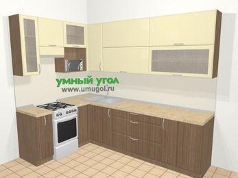 Угловая кухня МДФ матовый в современном стиле 7,2 м², 170 на 270 см, Ваниль / Лиственница бронзовая, верхние модули 92 см, верхний модуль под свч, отдельно стоящая плита