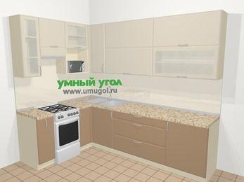 Угловая кухня МДФ матовый в современном стиле 7,2 м², 170 на 270 см, Керамик / Кофе, верхние модули 92 см, верхний модуль под свч, отдельно стоящая плита