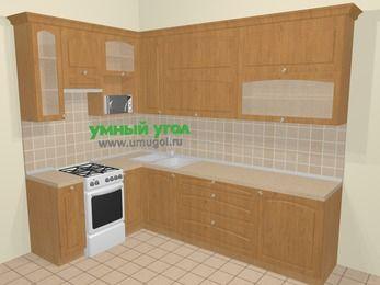 Угловая кухня МДФ матовый в стиле кантри 7,2 м², 170 на 270 см, Ольха, верхние модули 92 см, верхний модуль под свч, отдельно стоящая плита