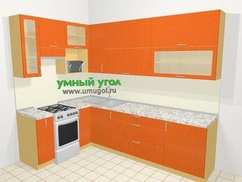 Угловая кухня МДФ металлик в современном стиле 7,2 м², 170 на 270 см, Оранжевый металлик, верхние модули 92 см, верхний модуль под свч, отдельно стоящая плита