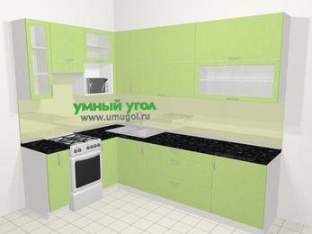 Угловая кухня МДФ металлик в современном стиле 7,2 м², 170 на 270 см, Салатовый металлик, верхние модули 92 см, верхний модуль под свч, отдельно стоящая плита