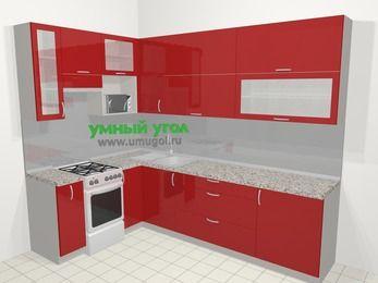 Угловая кухня МДФ глянец в современном стиле 7,2 м², 170 на 270 см, Красный, верхние модули 92 см, верхний модуль под свч, отдельно стоящая плита