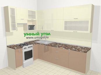 Угловая кухня МДФ глянец в современном стиле 7,2 м², 170 на 270 см, Жасмин / Капучино, верхние модули 92 см, верхний модуль под свч, отдельно стоящая плита
