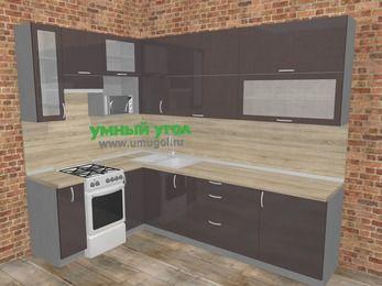 Угловая кухня МДФ глянец в стиле лофт 7,2 м², 170 на 270 см, Шоколад, верхние модули 92 см, верхний модуль под свч, отдельно стоящая плита