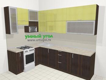 Кухни пластиковые угловые в современном стиле 7,2 м², 170 на 270 см, Желтый Галлион глянец / Дерево Мокка, верхние модули 92 см, верхний модуль под свч, отдельно стоящая плита