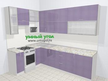 Кухни пластиковые угловые в современном стиле 7,2 м², 170 на 270 см, Сиреневый глянец, верхние модули 92 см, верхний модуль под свч, отдельно стоящая плита