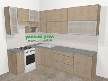Кухни пластиковые угловые в стиле лофт 7,2 м², 170 на 270 см, Чибли бежевый, верхние модули 92 см, верхний модуль под свч, отдельно стоящая плита