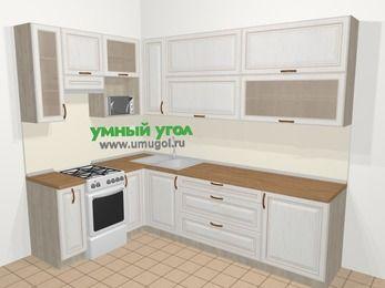 Угловая кухня МДФ патина в классическом стиле 7,2 м², 170 на 270 см, Лиственница белая, верхние модули 92 см, верхний модуль под свч, отдельно стоящая плита
