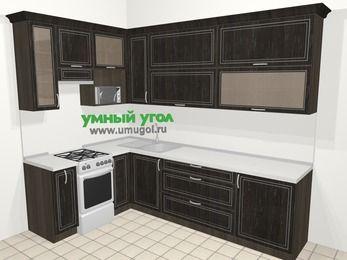 Угловая кухня МДФ патина в классическом стиле 7,2 м², 170 на 270 см, Венге, верхние модули 92 см, верхний модуль под свч, отдельно стоящая плита