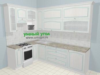 Угловая кухня МДФ патина в стиле прованс 7,2 м², 170 на 270 см, Лиственница белая, верхние модули 92 см, верхний модуль под свч, отдельно стоящая плита