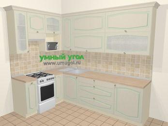 Угловая кухня МДФ патина в стиле прованс 7,2 м², 170 на 270 см, Керамик, верхние модули 92 см, верхний модуль под свч, отдельно стоящая плита
