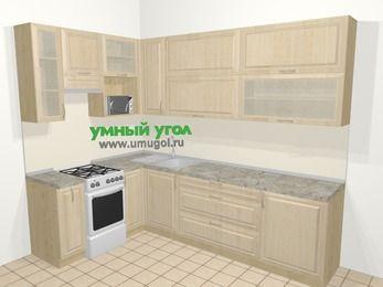 Угловая кухня из массива дерева в классическом стиле 7,2 м², 170 на 270 см, Светло-коричневые оттенки, верхние модули 92 см, верхний модуль под свч, отдельно стоящая плита