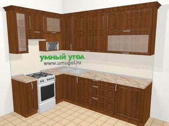 Угловая кухня из массива дерева в классическом стиле 7,2 м², 170 на 270 см, Темно-коричневые оттенки, верхние модули 92 см, верхний модуль под свч, отдельно стоящая плита