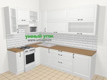 Угловая кухня из массива дерева в скандинавском стиле 7,2 м², 170 на 270 см, Белые оттенки, верхние модули 92 см, верхний модуль под свч, отдельно стоящая плита
