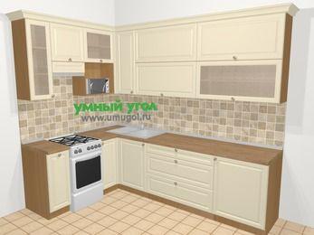 Угловая кухня из массива дерева в стиле кантри 7,2 м², 170 на 270 см, Бежевые оттенки, верхние модули 92 см, верхний модуль под свч, отдельно стоящая плита